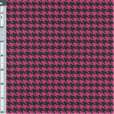 Hot Pink Black Stretch Houndstooth Fabric By The Yard