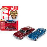 """1968 Chevrolet Corvette & 1968 Oldsmobile 442 """"Class of 1968"""" Set of 2 Ltd Ed 5004 pcs 1/64 Cars by Johnny Lightning"""