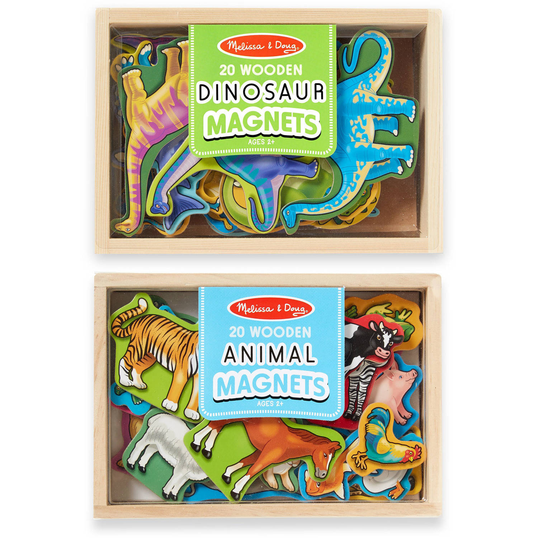 Melissa & Doug Wooden Magnets Set, Animals and Dinosaurs with 40 Wooden Magnets by Melissa %26 Doug
