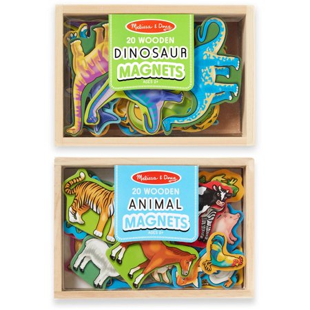 Melissa & Doug Wooden Magnets Set, Animals and Dinosaurs with 40 Wooden Magnets