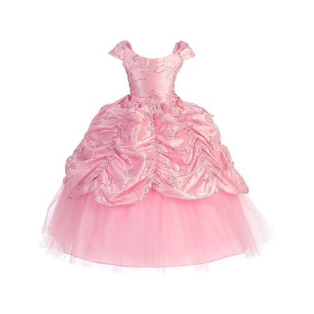 Girls Pink Cinderella Embroidered Pageant Dress - Cinderella Dress Girl