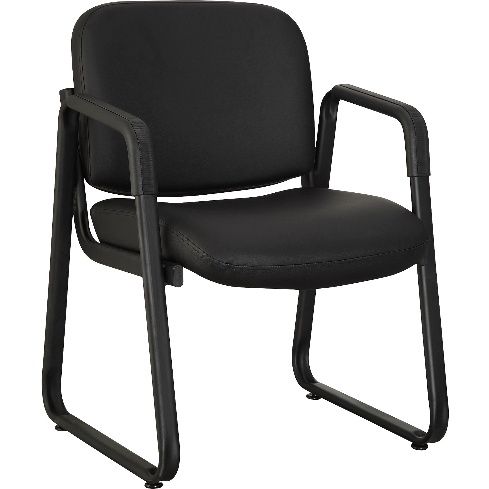 Lorell Black Leather Guest Reception Waiting Room Chair