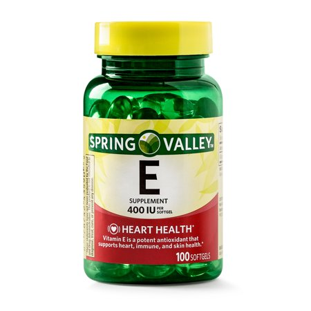 (2 Pack) Spring Valley Vitamin E Supplement, 400IU, 100 Softgel (Capsules Silhouette)