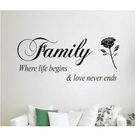 Wall Stickers,Justdolife Removable Family Rose Pattern Home Decors Decal Stickers Home Decoration for Living Room Bedroom Home
