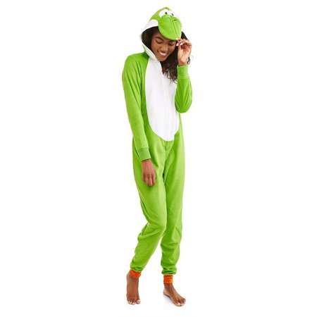 Super Mario Bros. Women's Hooded Union Suit Pajama Costume, Yoshi, Size: S](Yoshi Yoshi By Pj)