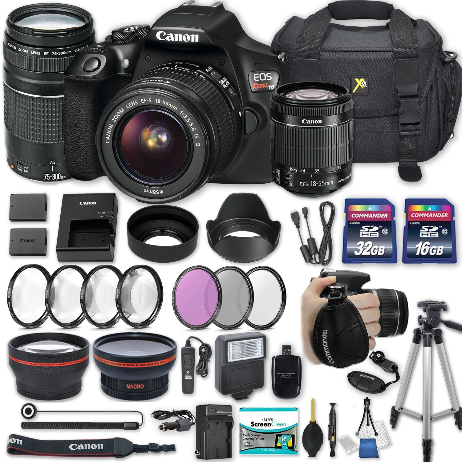 "Canon EOS Rebel T6 DSLR Camera with EF-S 18-55mm f/3.5-5.6 IS II Lens + EF 75-300mm f/4-5.6 III + 2 Memory Cards + 2 Aux Lenses + 50"" Tripod + Accessories Bundle (25 Items)"