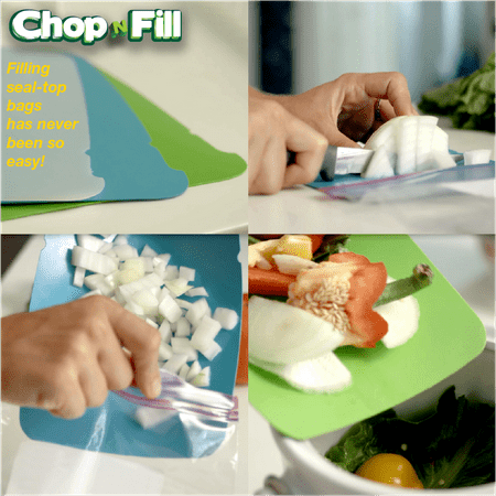 Zip n Store - Chop n Fill - Kitchen Plastic Cutting Chopping Mat Board - 4 Quart Pack (Polypropylene Zip)