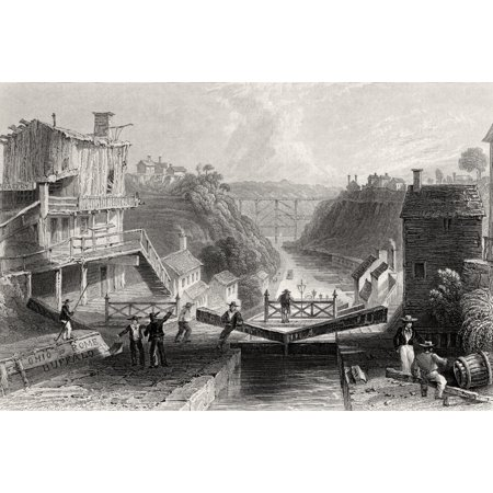 Lockport Erie Canal New York Usa From A 19Th Century Print Engraved By W Tombleson After W H Bartlett Stretched Canvas - Ken Welsh  Design Pics (17 x 11)
