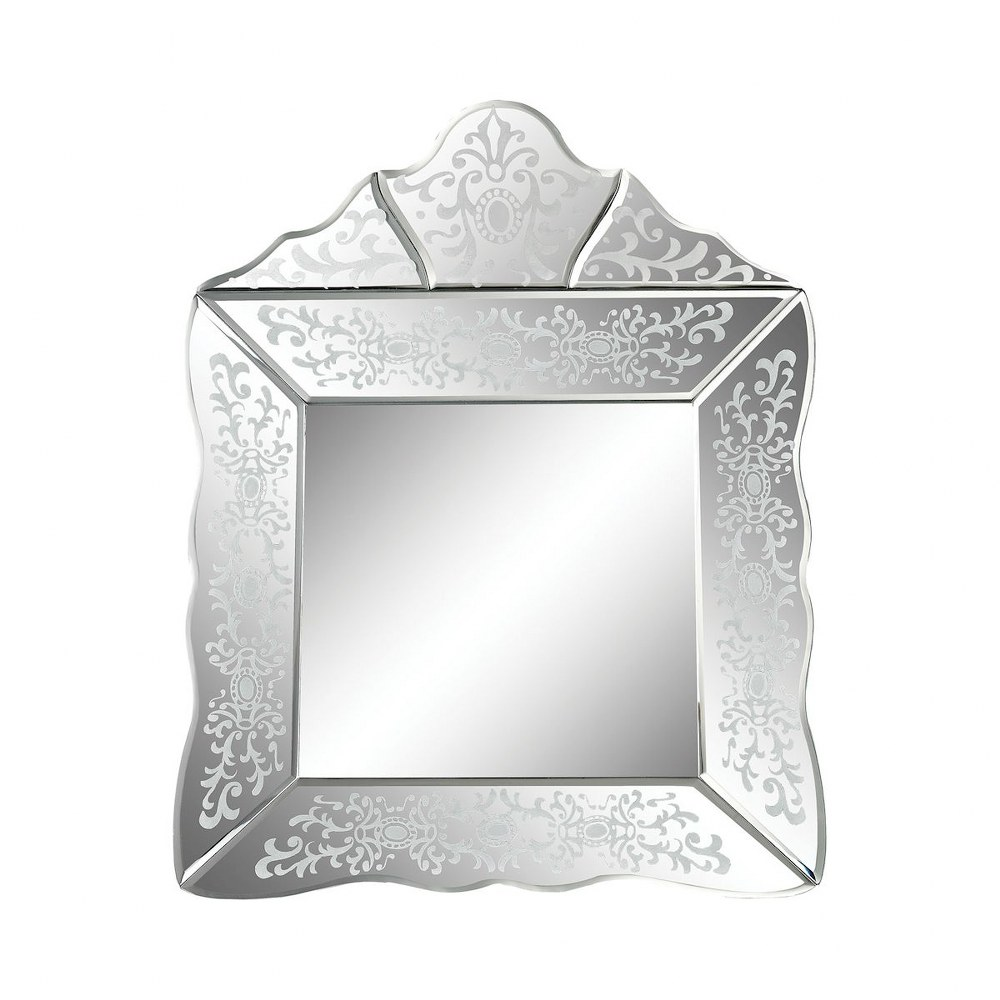 Small Venetian Inspired Wall Mirror With Flower And Scroll Etched Frame Made Of Glass In Clear Walmart Com Walmart Com