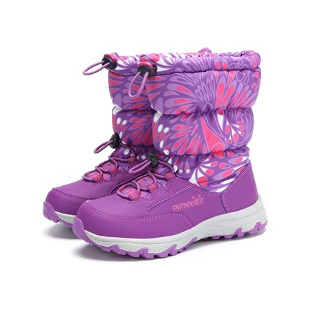 Snow Boots Mid Calf Printed Winter Warm Shoes for Boys and Girls - Girls Purple Sequin Boots