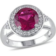 3-3/4 Carat T.G.W. Created Ruby and Created White Sapphire Sterling Silver Halo Engagement Ring