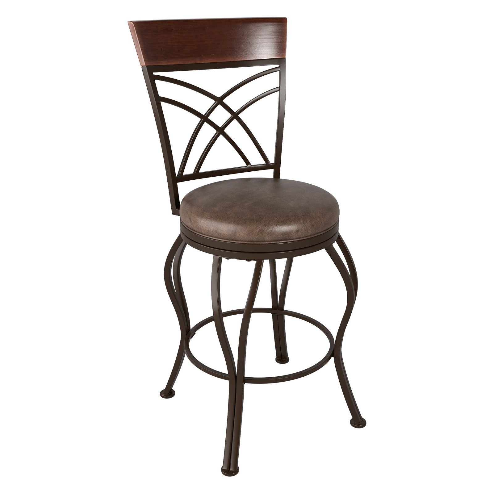 CorLiving Jericho Metal Counter Height Barstool with Rustic Brown Bonded Leather Seat