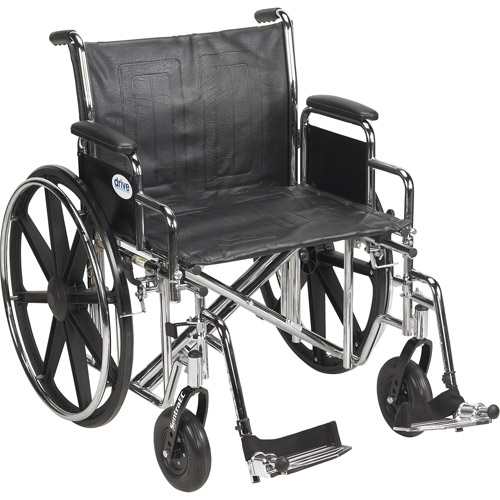 "Drive Medical Sentra EC Heavy Duty Wheelchair, Detachable Desk Arms, Swing away Footrests, 24"" Seat"