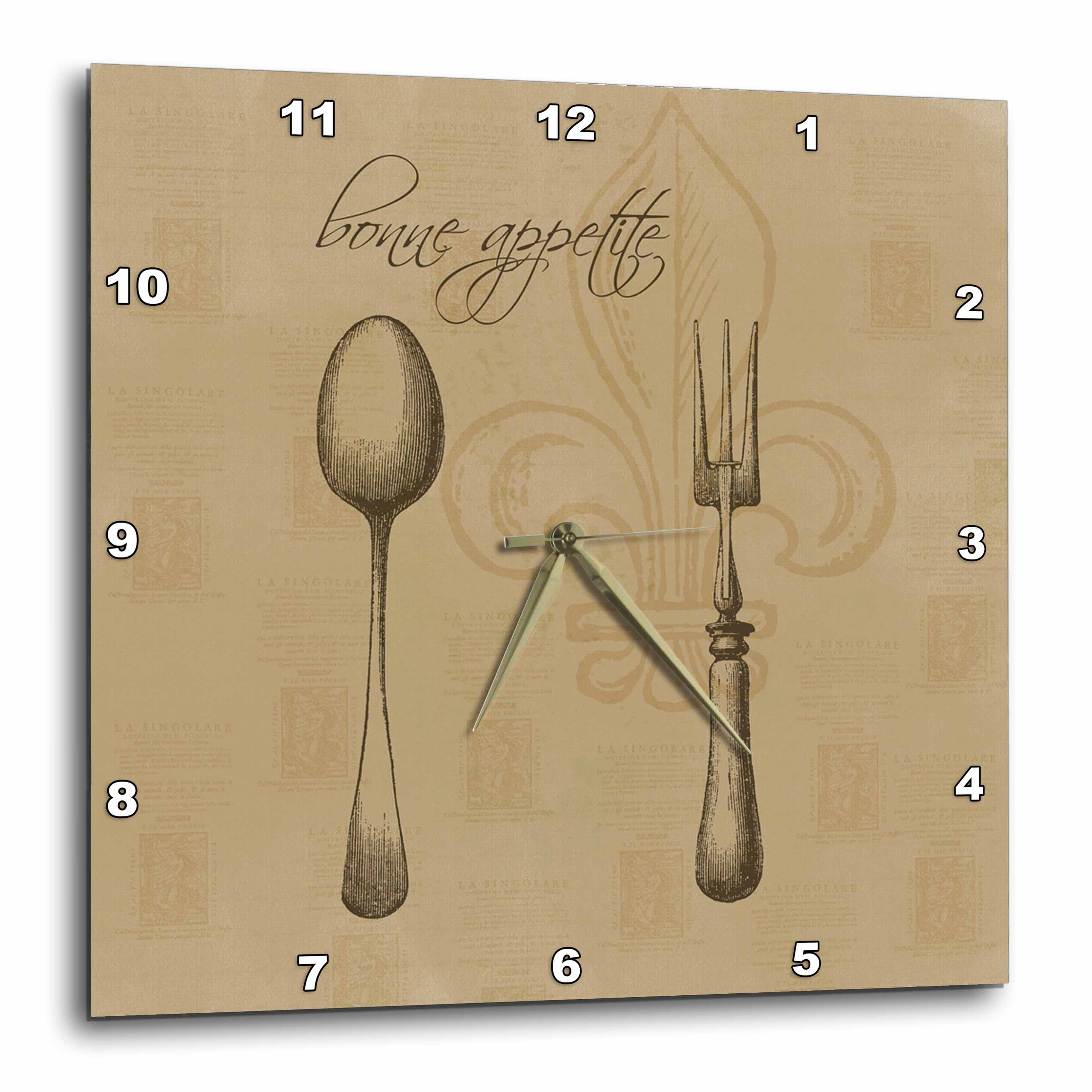 3dRose Fleur de lis Bonne Appetite Fork and Spoon Vintage Kitchen Art, Wall Clock, 10 by 10-inch