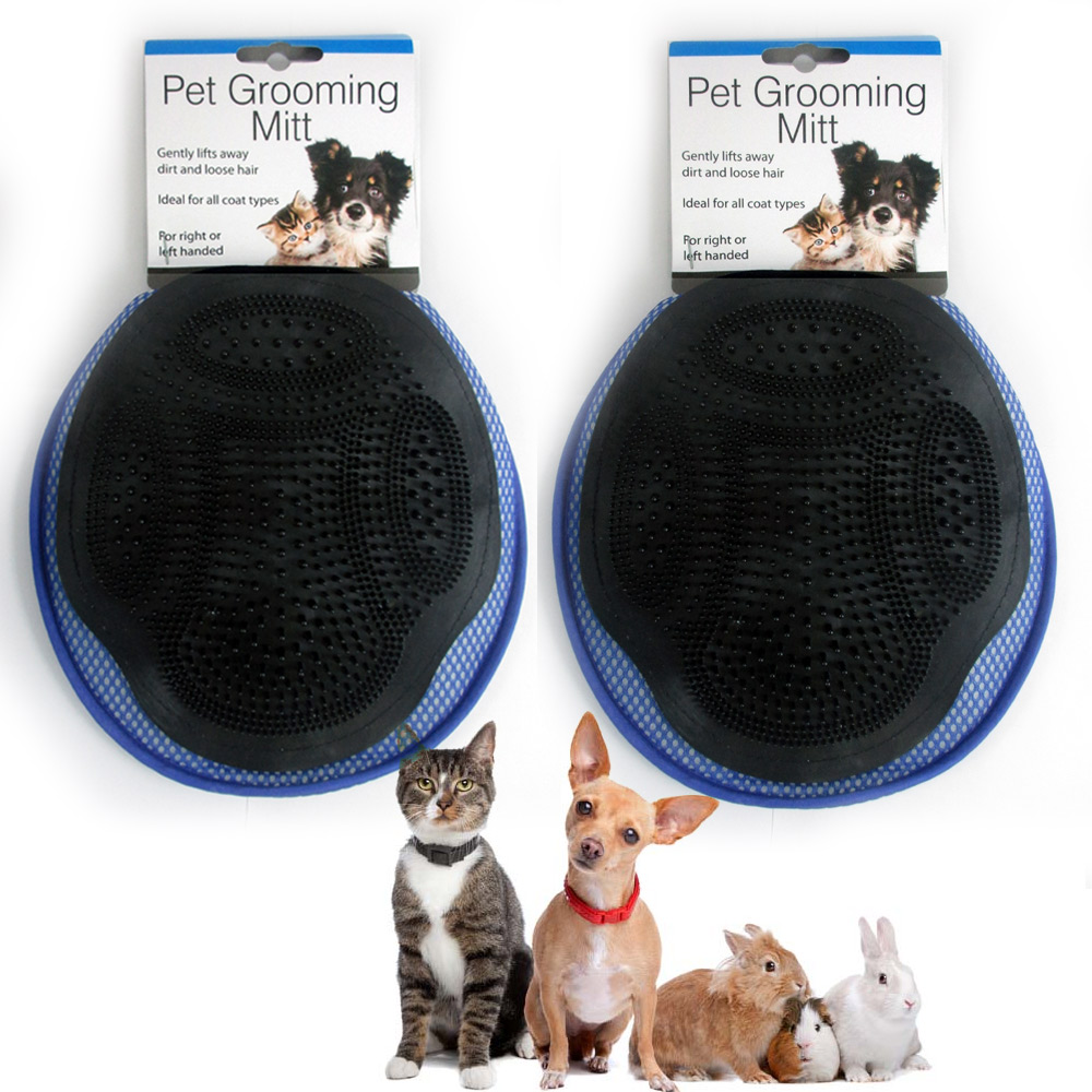 2 Pet Grooming Mitt Massage Bath Glove Cat Dog Rabbit Comb Soft Clean Scrubber