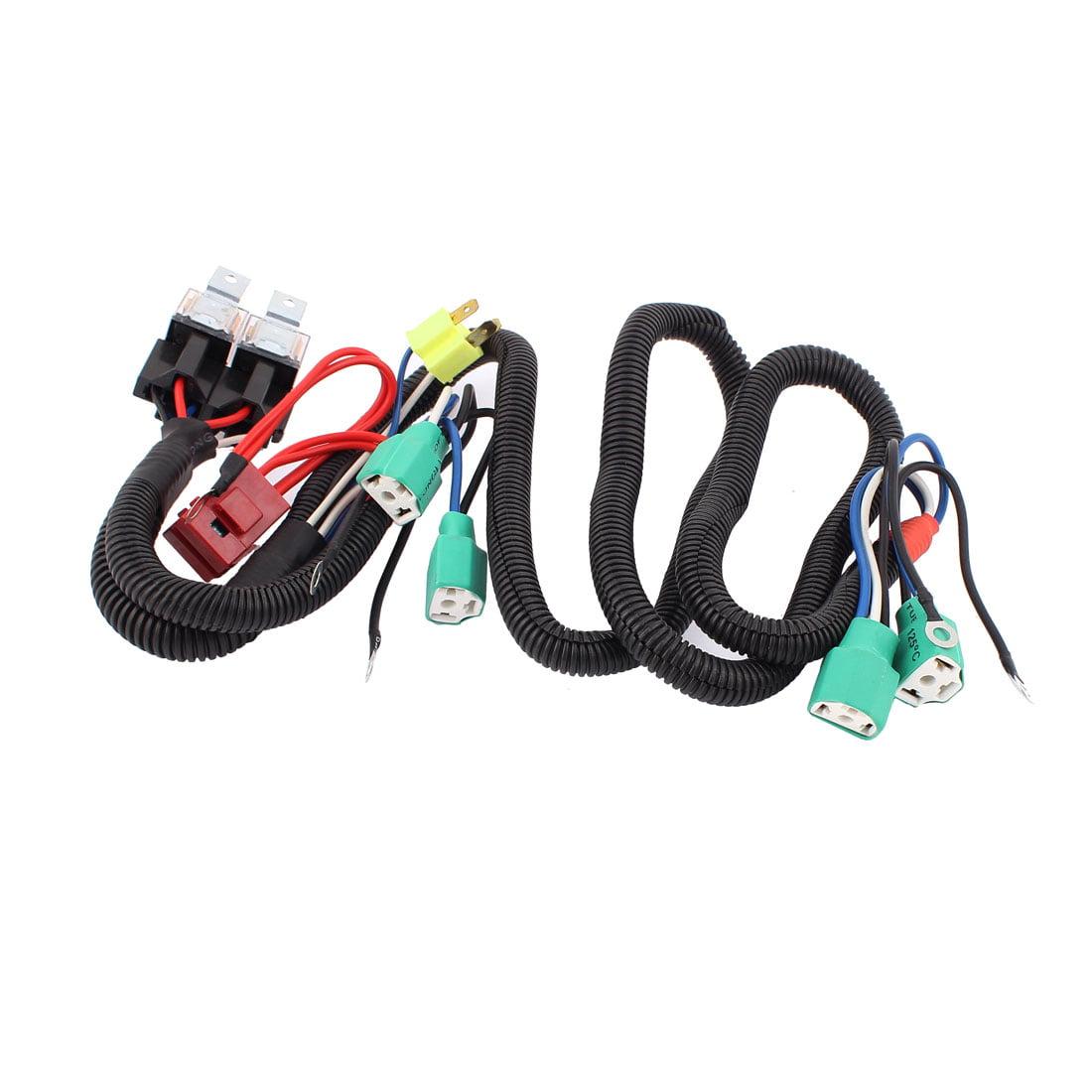 Car Auto 4 H4 HID Xenon Headlight Fog Lamp Fuse Relay Wire Harness DC 12V
