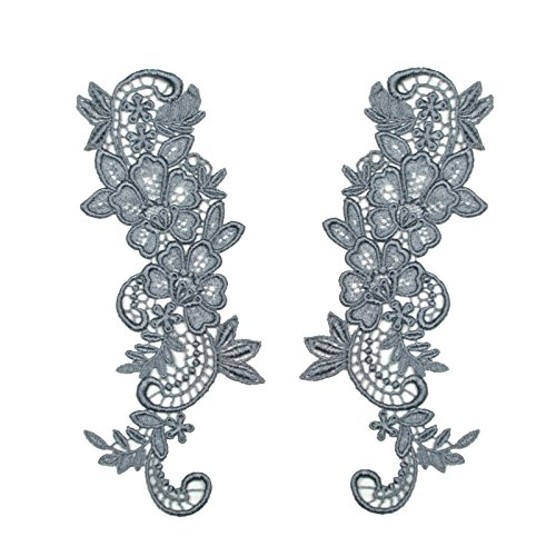 "Gray 2.75""x8"" Pair of Floral Venice Lace Applique Embroidered Bridal Guipure Patch Motif (2 Pieces)"