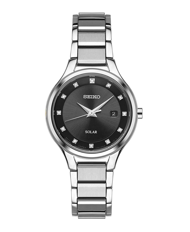 Seiko Women's Diamond Dial Dress Quartz Stainless Steel Casual Watch Silver-Toned SUT317 by Seiko