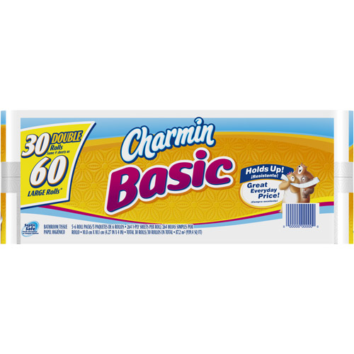 Charmin Basic Double Rolls Bathroom Tissue, 264 sheets, 30 rolls