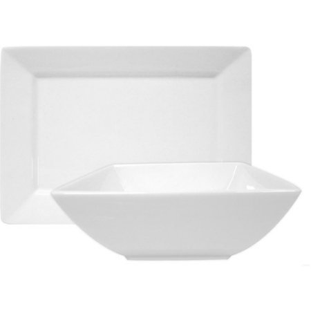 Better Homes And Gardens Porcelain Square Bowl And Platter Set  White