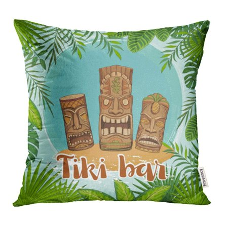 CMFUN Tiki Bar Traditional Hawaiian Idols Surrounded by Framework of Tropical Leaves Pillow Case Pillow Cover 18x18 inch Throw Pillow Covers - Tiki Idols