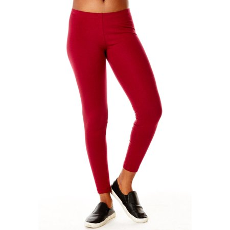 - Womens Bozzolo Plain Basic Solid Color Material Leggings RB4003-S-BURGUNDY