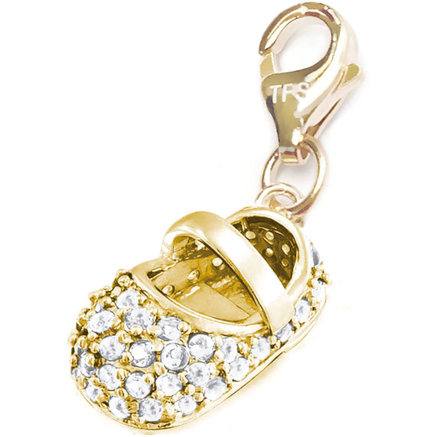 Julieta Jewelry 14kt Gold over Sterling Silver Baby Shoe in White Clip-On Charm