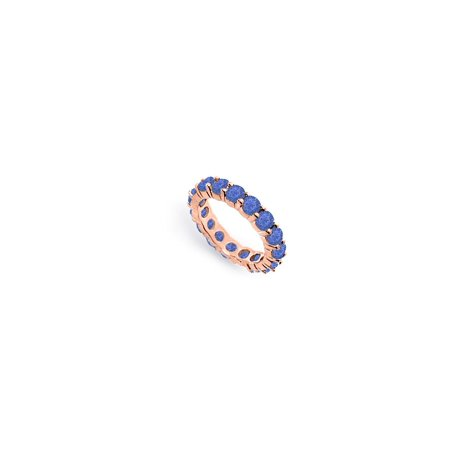 Created Blue Sapphire Eternity Bands of 4 CT. TGW. on 14K Rose Gold Vermeil (Floyd Rose Fine Tuners)