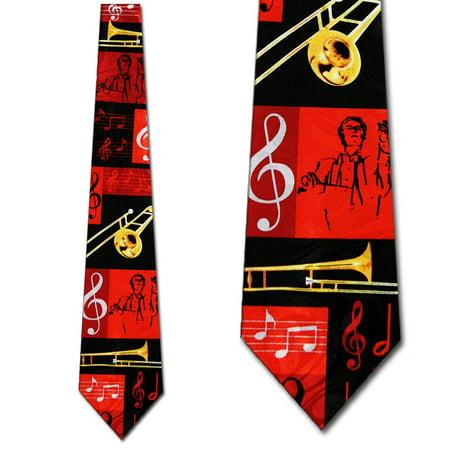 Trombone Collage Red Necktie Mens Tie by Steven Ha