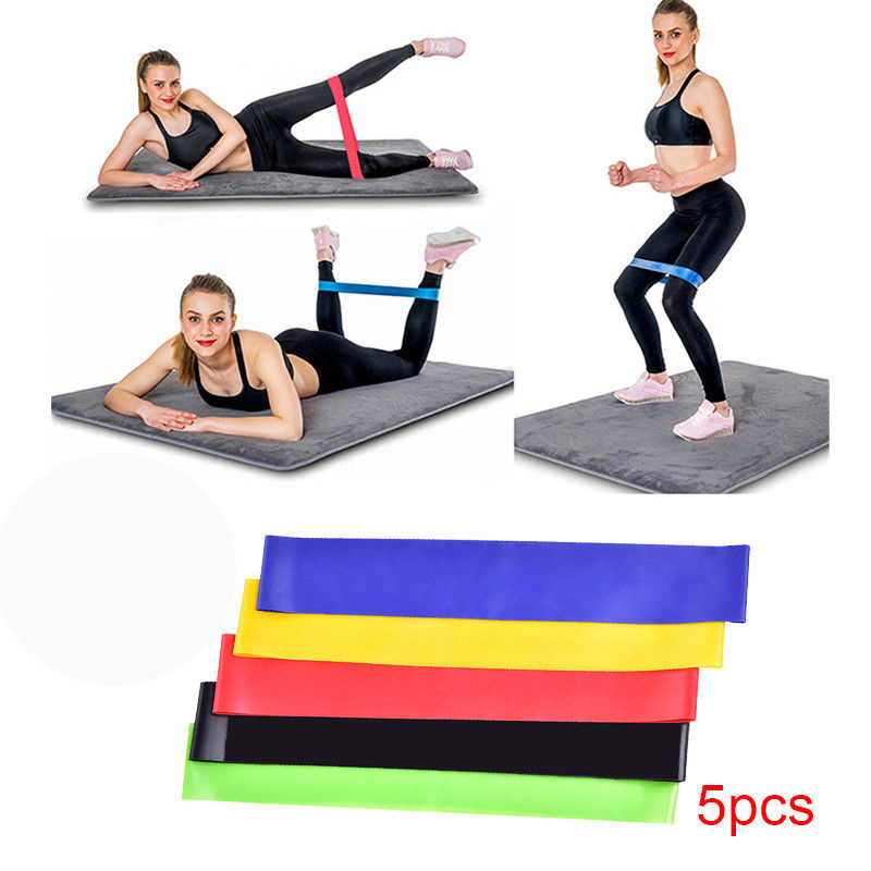 5pcs Resistance Loop Bands/Exercise Bands/Fitness Bands - Workout Bands for Leg, Ankle, Stretching, Physical Therapy, Yoga and Home Fitness