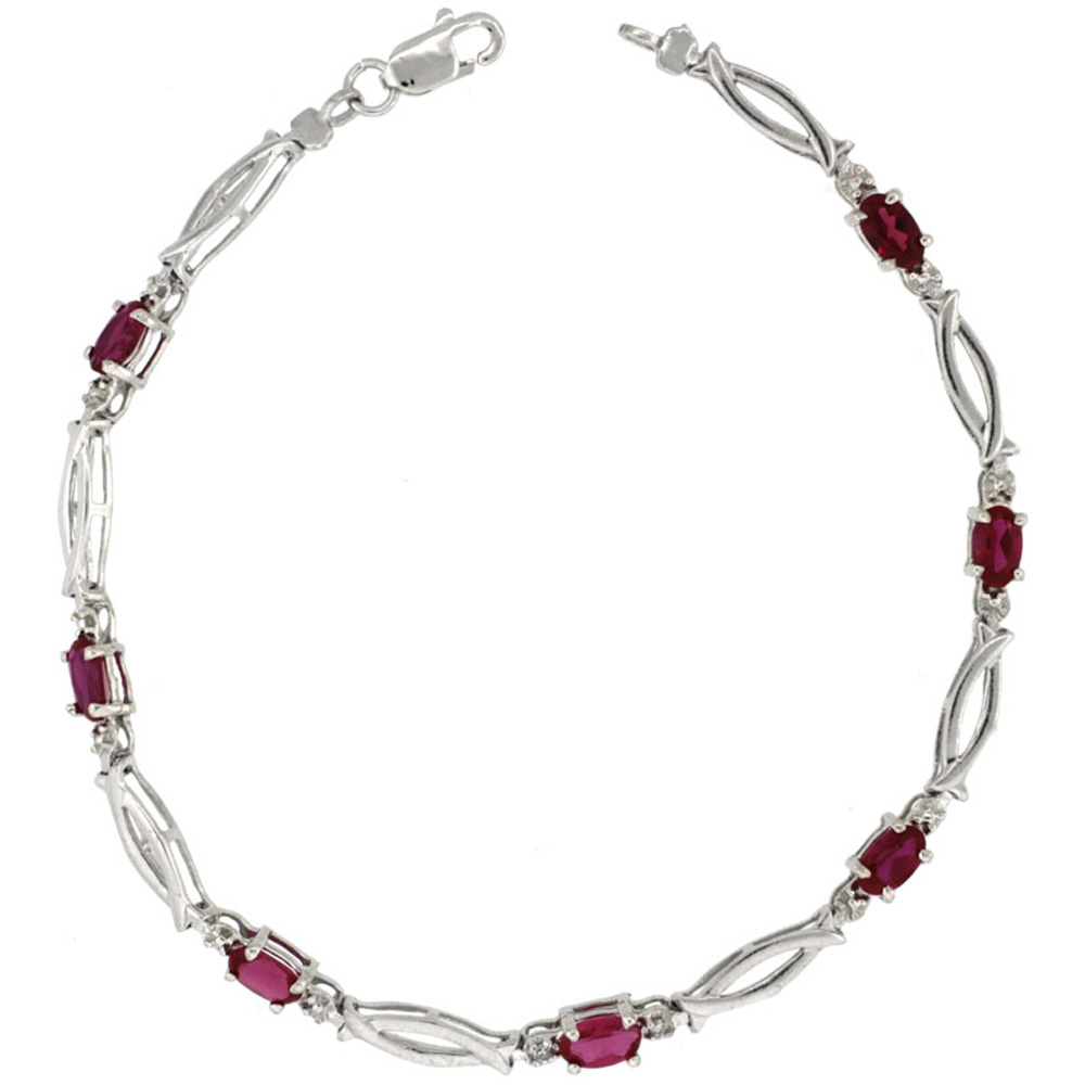 10k White Gold Christian Fish Tennis Bracelet 0.05 ct Diamonds & 1.75 ct Oval Created Ruby, 1 8 inch wide by WorldJewels