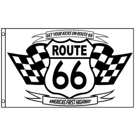 Route 66 Flag Black and White Get Your Kicks on Rte 66 Banner Pennant 3 x 5 Ft - Black And White Banner