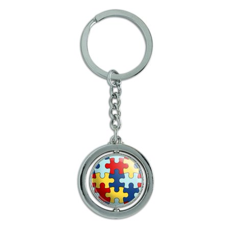 Autism Awareness Diversity Puzzle Pieces Spinning Round Chrome Plated Metal Keychain Key Chain Ring (Autism Awareness Keychain)