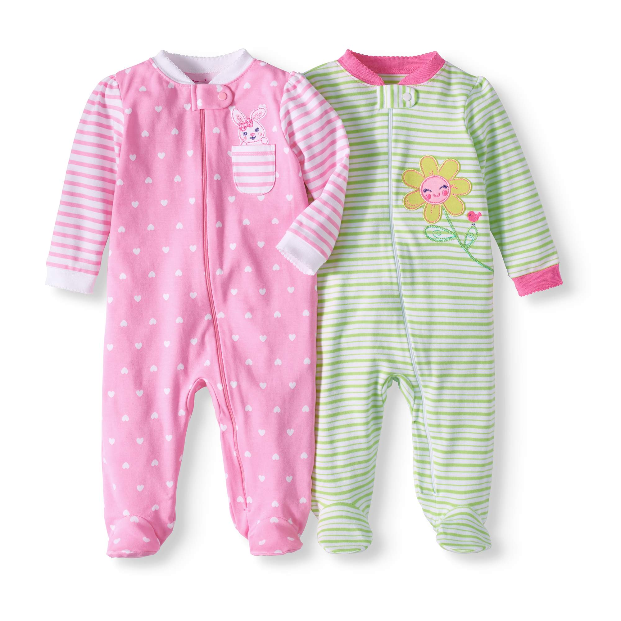 Newborn Baby Girl Sleep 'N Play, 2-pack