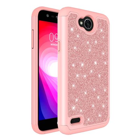 LG X Power 2, LG Charge, LG Fiesta 2 lte, Fiesta lte, LG K10 Power Diamond Glitter Case Shock Proof Hybrid Case with [HD Screen Protector] Phone Case - Rose Gold - image 3 of 4