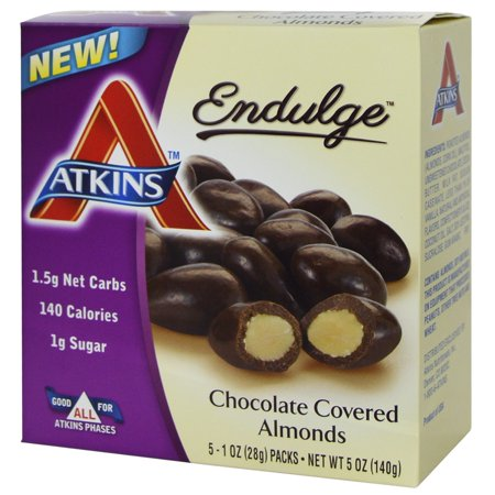Atkins, Endulge, Chocolate Covered Almonds, 5 Packs, 1 oz (28 g) Each(pack of 2) (Chocolate Covered Halloween Apples)