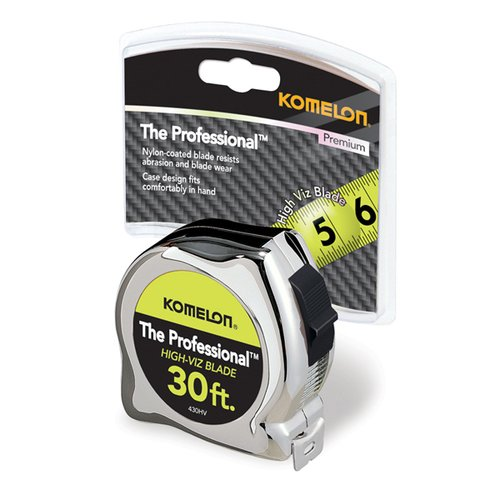"Komelon 30' x 1"" Professional Tape Measure, Chrome"