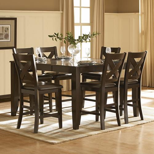 Tribecca Home Acton Merlot X Back 7 Piece Counter Ight Dining Set