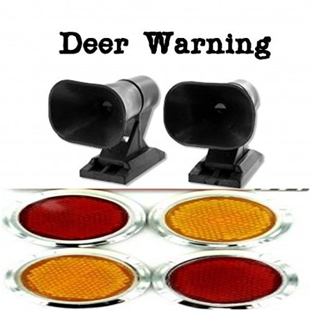 2pk. Deer Warning ALERT Whistle For Cars Vehicle Self Adhesive Animal Whistles ALERTS - PLUS Small Mini Plastic 4pk Stick On Reflectors Red Amber for Bikes, Trucks, Cars, Motorcycles [BUNDLE PACK] (Deer Antlers For Cars)