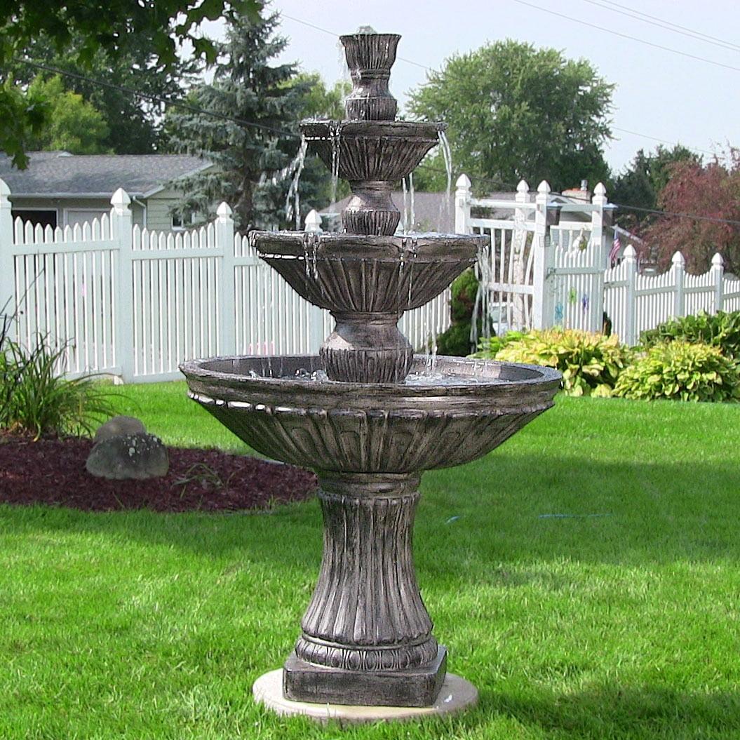 Sunnydaze Classic Three-Tier Designer Outdoor Water Fountain, Dark Brown, 55 Inch Tall by Sunnydaze Decor