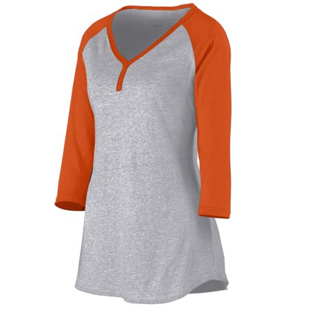 Augusta Sportswear Women's Rave Henley S Athletic Heather/Orange - image 1 of 1