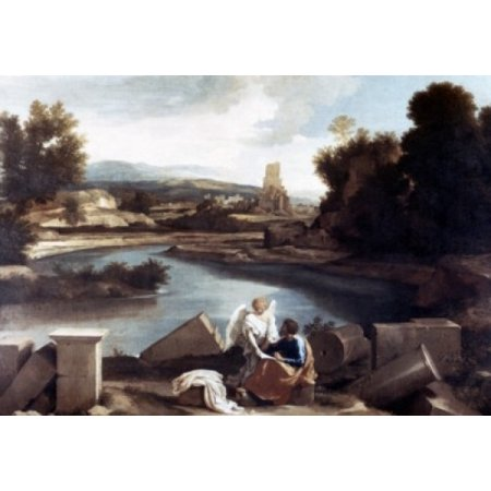 Landscape with Saint Mathew and Angel by Nicolas Poussin Poster