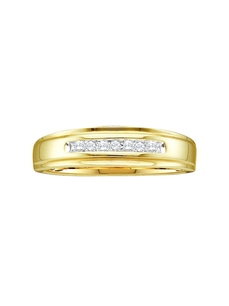 14k Yellow Gold Round Channel-set Natural Diamond Mens Masculine Wedding band (.08 cttw.) size- 9.5 by