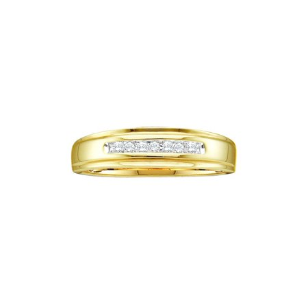 14k Yellow Gold Round Channel-set Natural Diamond Mens Masculine Wedding band (.08 cttw.) size- 9.5
