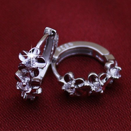 Women Girls Earrings Clip Plated 925 Silver Hypoallergenic Hinged Hoop Earrings Flower Rhinestone - image 5 of 7