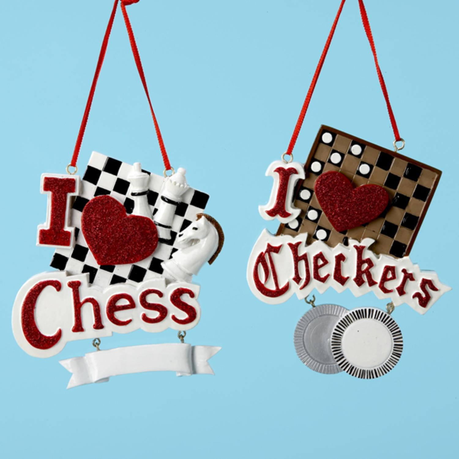 Pack of 12 Chess & Checkers Christmas Ornaments for Personalization