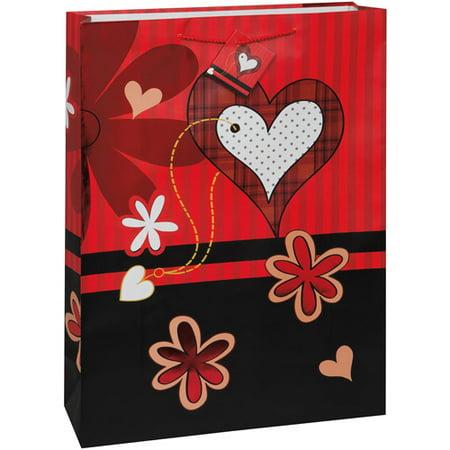 Jumbo Hearts and Flowers Valentine Gift Bag