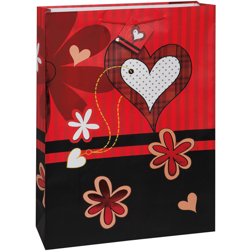 Jumbo Hearts and Flowers Valentine Gift Bag