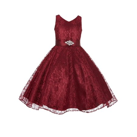Ekidsbridal Wedding Floral Lace Overlay V-Neck Flower girl dress Rhinestone Pageant Communion Junior Bridesmaid Recital Easter Birthday Girl Dress Formal Clothing Baptism Princess 166s for $<!---->