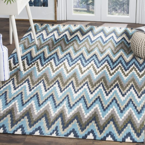 Wrought Studio Sonny Hand-Woven Cotton Brwon/Blue Area Rug